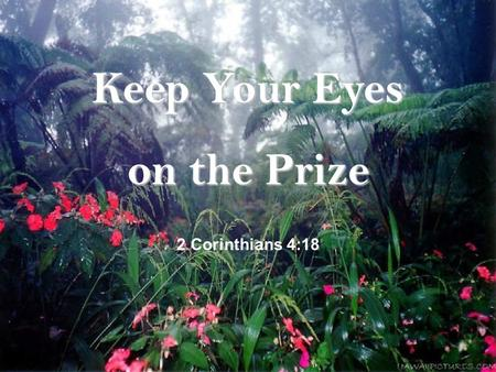 Keep Your Eyes on the Prize 2 Corinthians 4:18 When eyes of blind ones………