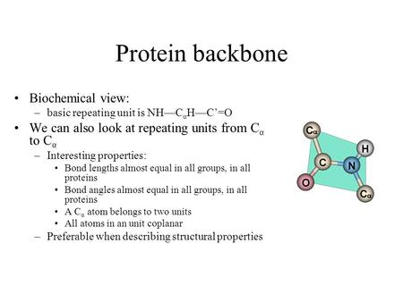 Protein backbone Biochemical view: –basic repeating unit is NH—C α H—C'=O We can also look at repeating units from C α to C α –Interesting properties: