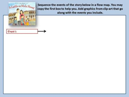 Sequence the events of the story below in a flow map. You may copy the first box to help you. Add graphics from clip-art that go along with the events.