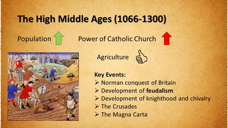 The High Middle Ages (1066-1300) PopulationPower of Catholic Church Agriculture Key Events:  Norman conquest of Britain  Development of feudalism  Development.