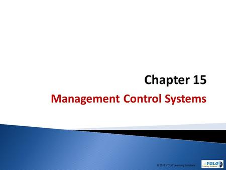 Chapter 15 Management Control Systems © 2015 YOLO Learning Solutions.