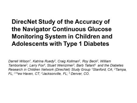 Accuracy Study Of The Medtronic Minimed Continuous Glucose