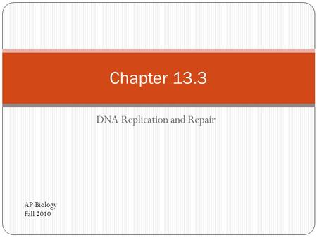 DNA Replication and Repair Chapter 13.3 AP Biology Fall 2010.