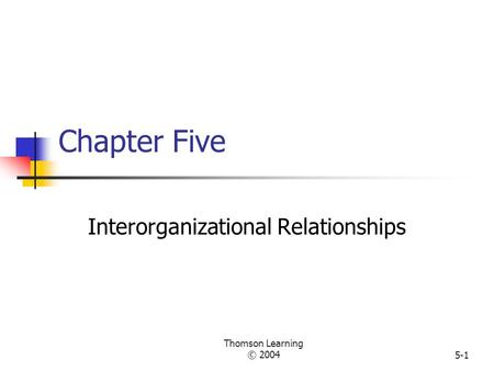 Thomson Learning © 20045-1 Chapter Five Interorganizational Relationships.