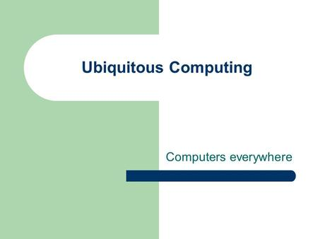 Ubiquitous Computing Computers everywhere. Wednesday: presentations Ideal Concepts T.H.E. Team Infused Industries CommuniCORP Part 3 DUE!