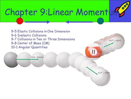 Chapter 9:Linear Momentum 9-5 Elastic Collisions in One Dimension 9-6 Inelastic Collisions 9-7 Collisions in Two or Three Dimensions 9-8 Center of Mass.