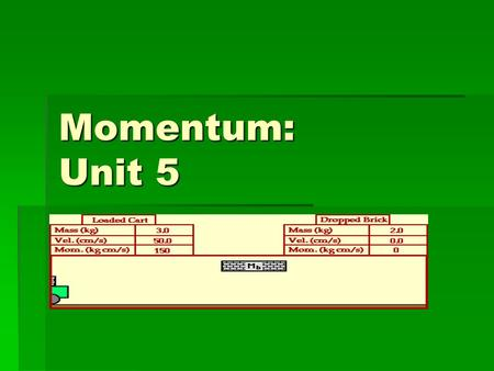 Momentum: Unit 5. What is Momentum?  Momentum: ___________ in motion  Momentum= Mass x Velocity  ____________ = Mass x Speed – when direction is not.