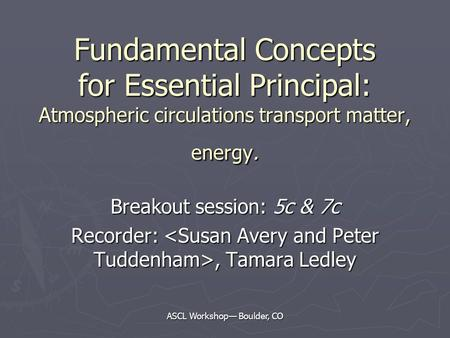 ASCL Workshop— Boulder, CO Fundamental Concepts for Essential Principal: Atmospheric circulations transport matter, energy. Breakout session: 5c & 7c Recorder:,
