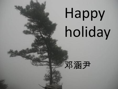 Happy holiday 邓涵尹. Happy holiday This holiday , I went to the ShanDong.We saw a NanShanDaFuo, It is very grand.And we saw a BaXianGuoHai, it is very beautiful.