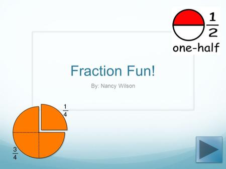 Fraction Fun! By: Nancy Wilson. GLCEs N.ME.02.18 Recognize, name, and represent commonly used unit fractions with denominators 12 or less; model 1/2,