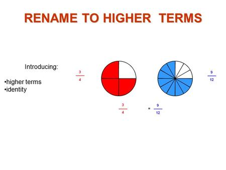 Introducing: higher terms identity RENAME TO HIGHER TERMS.