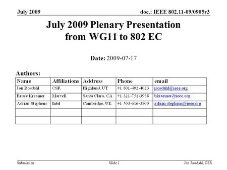 Doc.: IEEE 802.11-09/0905r3 Submission July 2009 Jon Rosdahl, CSRSlide 1 July 2009 Plenary Presentation from WG11 to 802 EC Date: 2009-07-17 Authors: