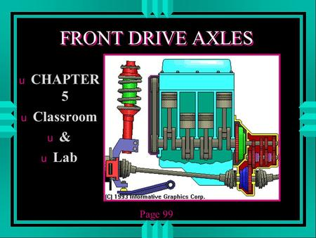 FRONT DRIVE AXLES CHAPTER 5 Classroom & Lab Page 99.