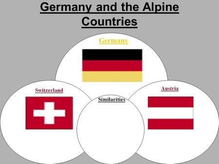 Germany and the Alpine Countries Switzerland Germany Austria Similarities.