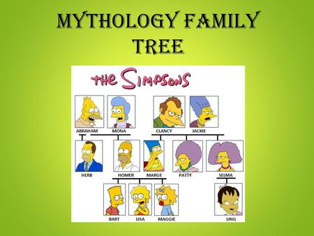"Mythology Family Tree. As I Present: Record the name of each God/Goddess in the blank family tree provided Please include an ""M"" beside the name if the."