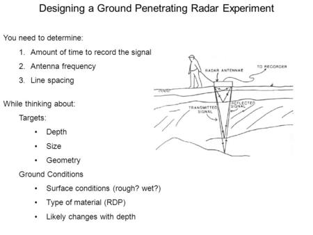 Designing a Ground Penetrating Radar Experiment You need to determine: 1.Amount of time to record the signal 2.Antenna frequency 3.Line spacing While thinking.