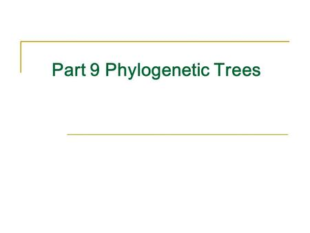 Part 9 Phylogenetic Trees. Phylogeny PHYLOGENY (coined 1866 Haeckel) 1.the line of descent or evolutionary development of any plant or animal species.