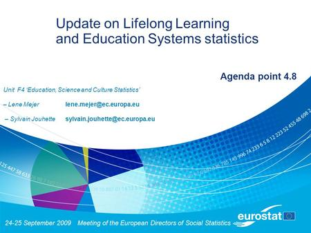 24-25 September 2009Meeting of the European Directors of Social Statistics Update on Lifelong Learning and Education Systems statistics Agenda point 4.8.