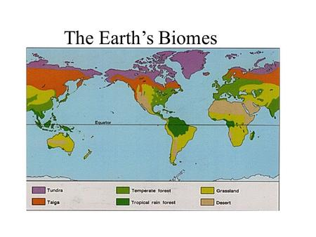 The Earth's Biomes.