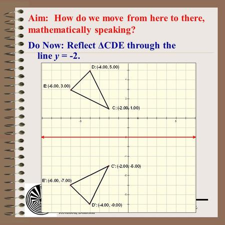 Aim: Transformation: Translation, Rotation, Dilation Course: Alg. 2 & Trig. Do Now: Reflect ΔCDE through the line y = -2. Aim: How do we move from here.