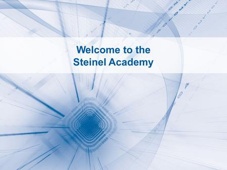 STEINEL ACADEMY 1 Welcome to the Steinel Academy.