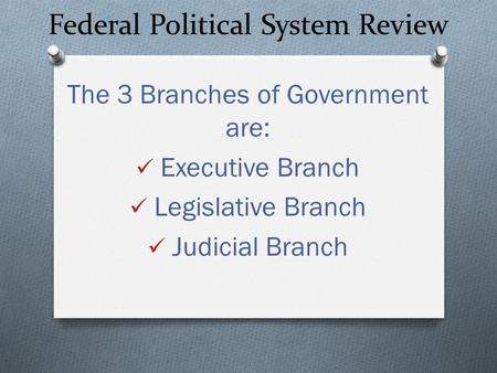 Federal Political System Review