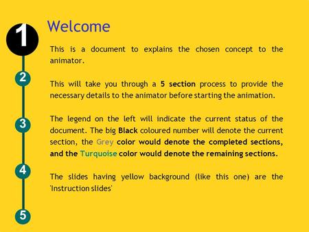 Welcome This is a document to explains the chosen concept to the animator. This will take you through a 5 section process to provide the necessary details.