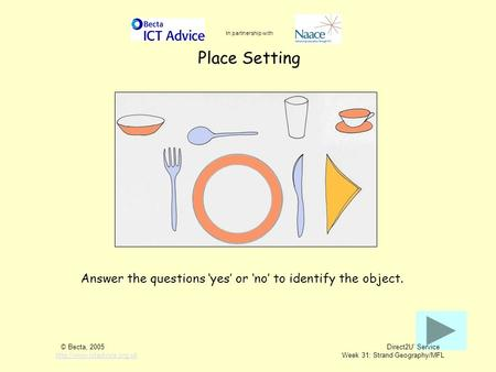Place Setting Answer the questions 'yes' or 'no' to identify the object. In partnership with © Becta, 2005 Direct2U' Service