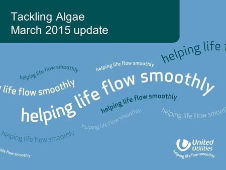 Tackling Algae March 2015 update. Agenda Background Our algae working group Raw water management –Catchment –Algae management plans –Reservoir mixing.