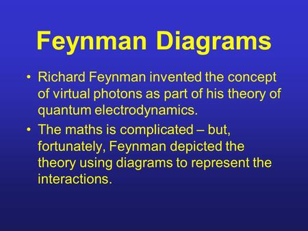 Feynman Diagrams Richard Feynman invented the concept of virtual photons as part of his theory of quantum electrodynamics. The maths is complicated – but,