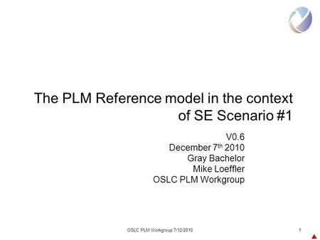OSLC PLM Workgroup 7/12/20101 The PLM Reference model in the context of SE Scenario #1 V0.6 December 7 th 2010 Gray Bachelor Mike Loeffler OSLC PLM Workgroup.