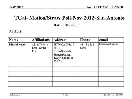 Submission doc.: IEEE 11-10/1367r00 Nov 2012 Hiroshi Mano (ATRD)Slide 1 TGai- Motion/Straw Poll-Nov-2012-San-Antonio Date: 1012-1-13 Authors: