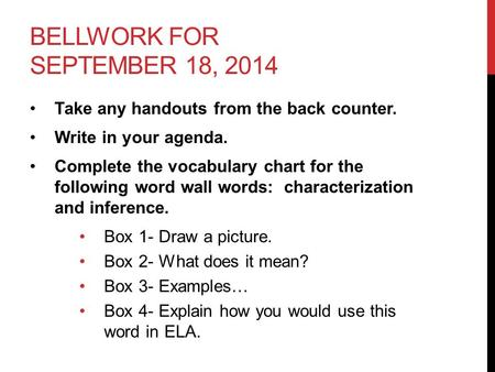BELLWORK FOR SEPTEMBER 18, 2014 Take any handouts from the back counter. Write in your agenda. Complete the vocabulary chart for the following word wall.