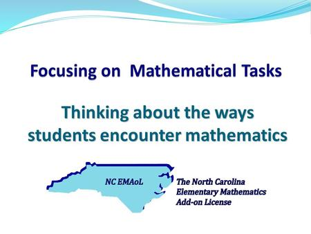 Thinking about the ways students encounter mathematics.