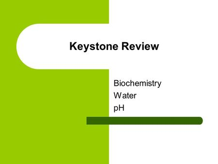 Keystone Review Biochemistry Water pH. Carbon Carbon can form lots of bonds (and shapes) because it has four electrons in its outer energy level.
