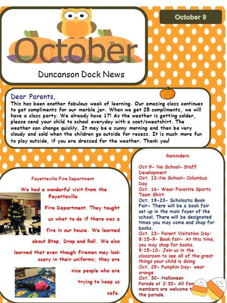 Duncanson Dock News Dear Parents, This has been another fabulous week of learning. Our amazing class continues to get compliments for our marble jar. When.