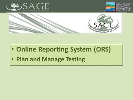 Online Reporting System (ORS) Plan and Manage Testing.