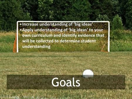 Goals Increase understanding of 'big ideas' Apply understanding of 'big ideas' to your own curriculum and identify evidence that will be collected to determine.