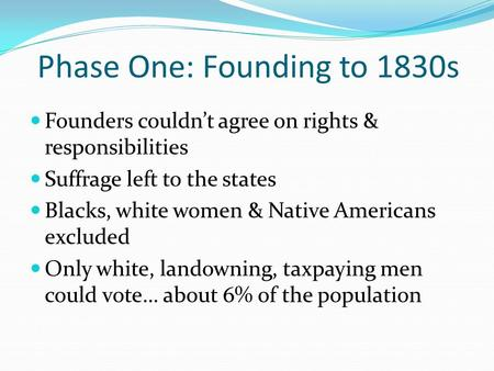Phase One: Founding to 1830s Founders couldn't agree on rights & responsibilities Suffrage left to the states Blacks, white women & Native Americans excluded.