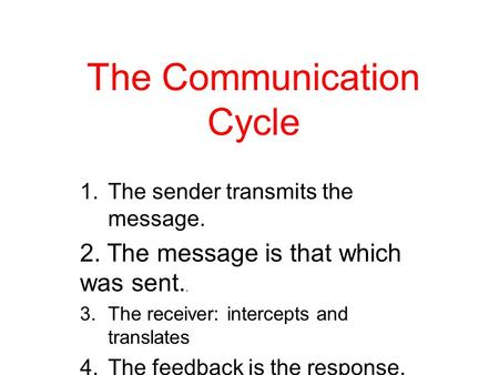 The Communication Cycle 1.The sender transmits the message. 2. The message is that which was sent.. 3.The receiver: intercepts and translates 4.The feedback.