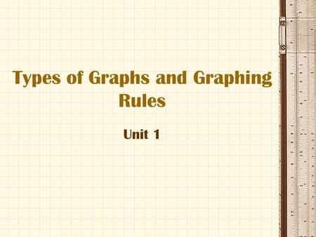 Types of Graphs and Graphing Rules Unit 1. Types of Graphs There are three types of graphs that we will use in this class: 1.Line Graphs 2.Bar Graphs.