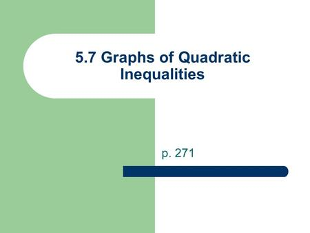 5.7 Graphs of Quadratic Inequalities p. 271. Forms of Quadratic Inequalities y<ax 2 +bx+cy>ax 2 +bx+c y≤ax 2 +bx+cy≥ax 2 +bx+c Graphs will look like a.
