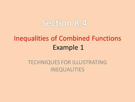 Inequalities of Combined Functions Example 1 TECHNIQUES FOR ILLUSTRATING INEQUALITIES.
