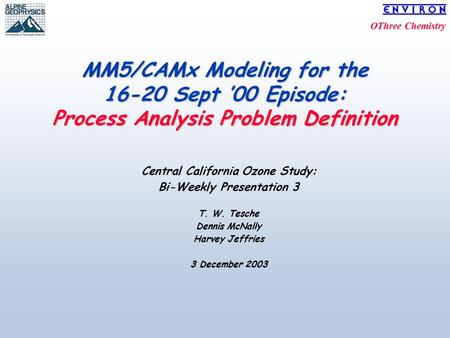OThree Chemistry MM5/CAMx Modeling for the 16-20 Sept '00 Episode: Process Analysis Problem Definition Central California Ozone Study: Bi-Weekly Presentation.