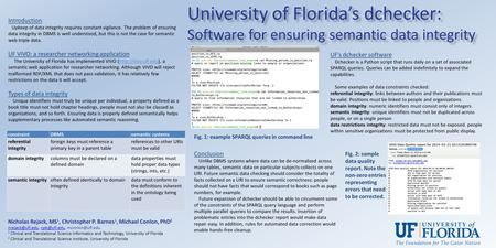 University of Florida's dchecker: Software for ensuring semantic data integrity Nicholas Rejack, MS 1, Christopher P. Barnes 1, Michael Conlon, PhD 2