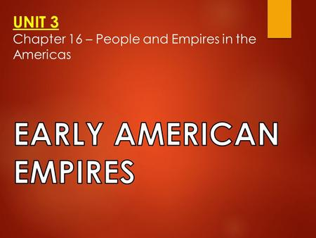 UNIT 3 Chapter 16 – People and Empires in the Americas.