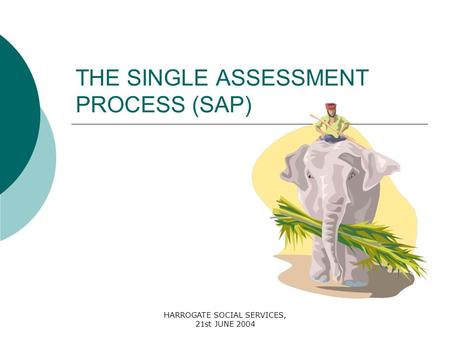 HARROGATE SOCIAL SERVICES, 21st JUNE 2004 THE SINGLE ASSESSMENT PROCESS (SAP)