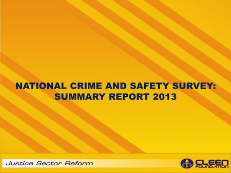 NATIONAL CRIME AND SAFETY SURVEY: SUMMARY REPORT 2013.