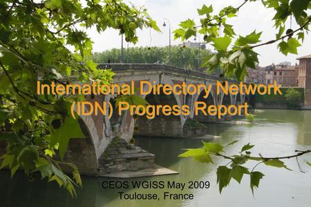 International Directory Network (IDN) Progress Report CEOS WGISS May 2009 Toulouse, France.