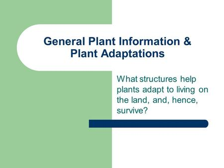 General Plant Information & Plant Adaptations What structures help plants adapt to living on the land, and, hence, survive?